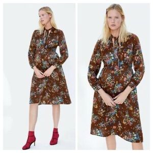 Zara Woman Midi Brown Floral Dress with Bow V-Neck